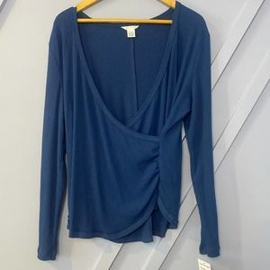 Caslon blue ribbed wrap long sleeve top